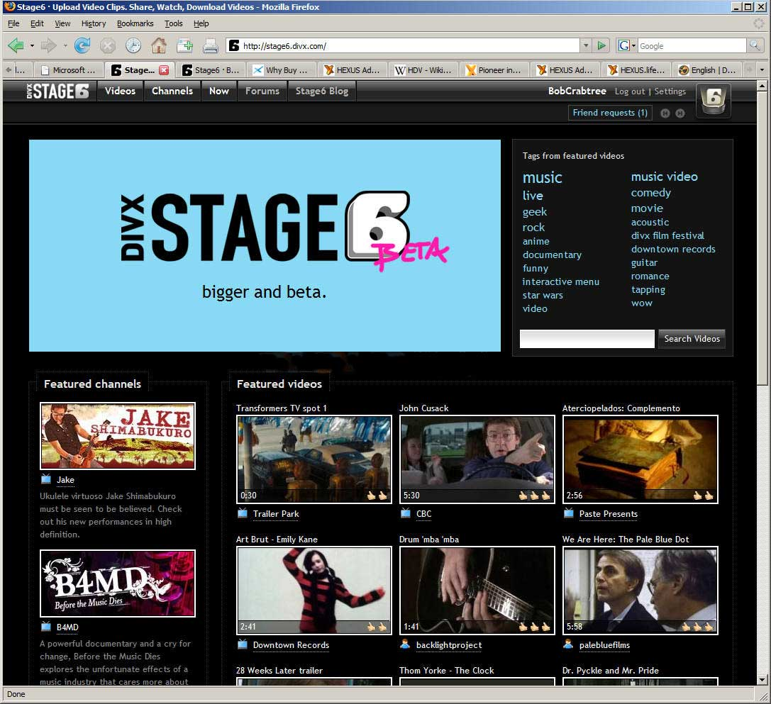 Stage6 Beta Web Homepage