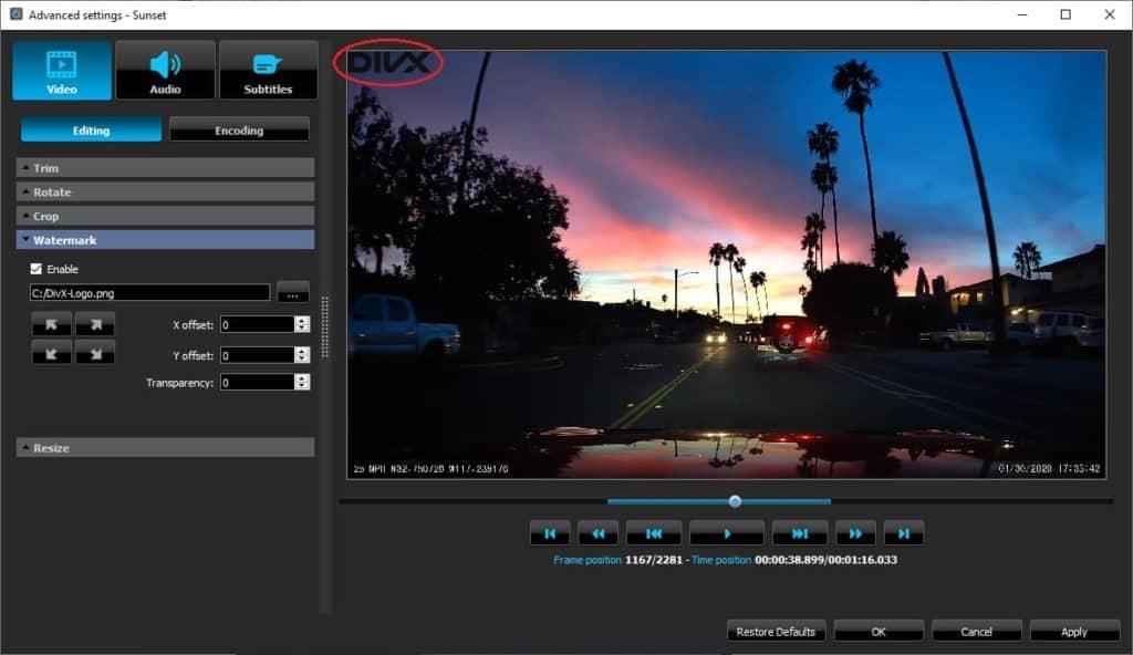 DivX Converter Advanced Features